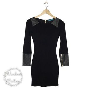 ALICE + OLIVIA Lamb Leather Wool Bodycon Dress